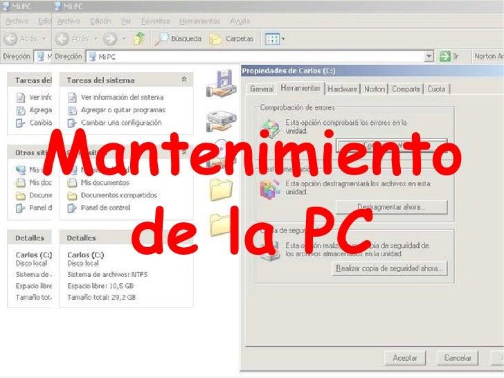 Mantenimiento de la PC