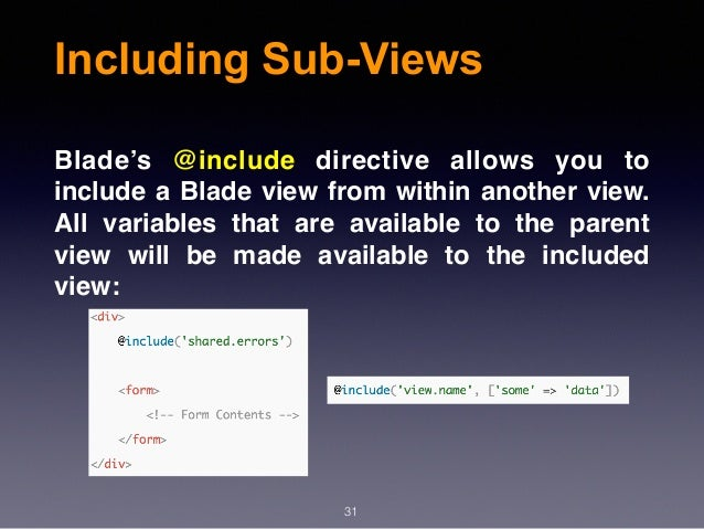 Laravel Blade Include Sidebar