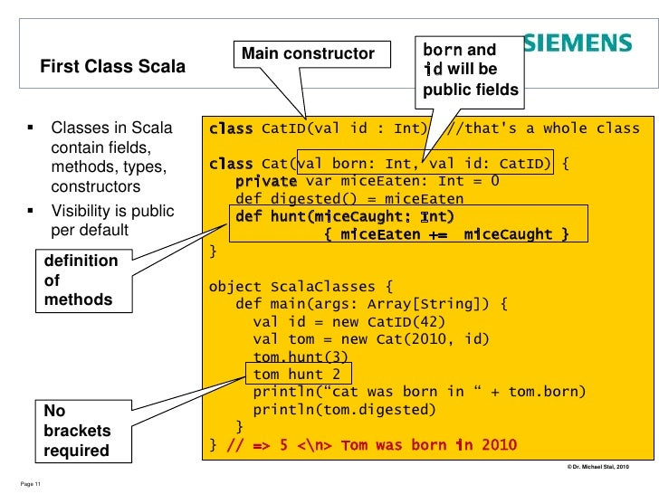 A more advanced example (1)  (from Venkat Subramanian's book Programming Scala, pp.5)<br />Page 8<br />import scala.actors...