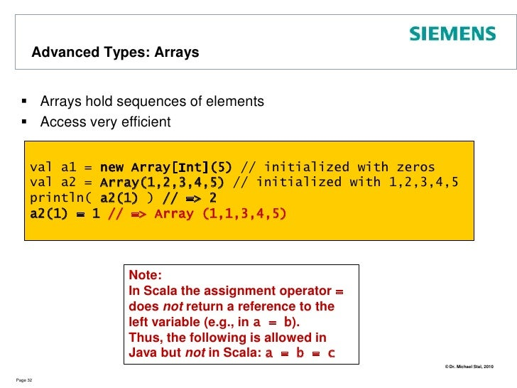 Advanced Types: Sets<br />Collection Type: Set<br />Page 27<br />object SetDemo {<br /> def main(args:Array[String]) {<br ...