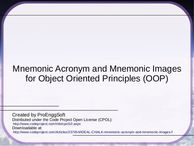 Mnemonic Acronym and Mnemonic Images for Object Oriented Principles (OOP) Created by ProEnggSoft Distributed under the Cod...