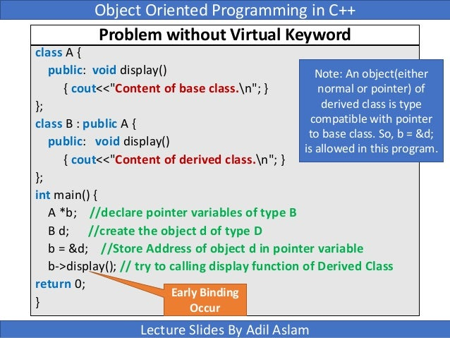 lecture object oriented programming and a variable 1 concepts in object-oriented programming languages slides today taken from john mitchell outline of lecture object-oriented design primary object-oriented language concepts.