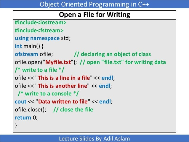 Output File Stream Member Functions