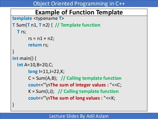 Templates in c for What is template function