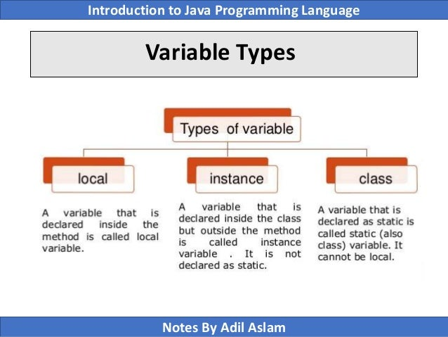 Type of Variables in Java