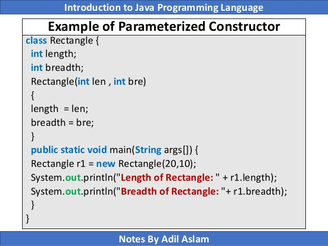 how to call class with parameterized array constructor in java