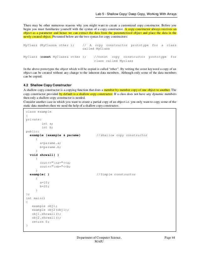 Data structure and object oriented programming in c++ lab manual