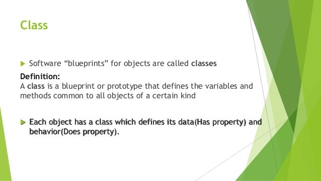 Object oriented programing java presentaion 8 class software blueprints for objects malvernweather Choice Image