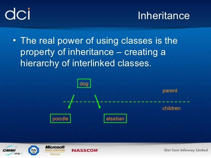 Inheritance <ul><li>The real power of using classes is the property of inheritance – creating a hierarchy of interlinked c...