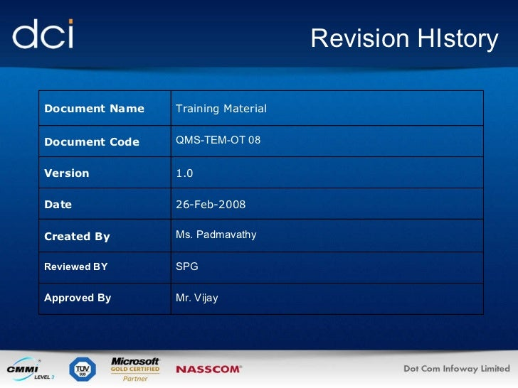 Revision HIstory Document Name Training Material Document Code QMS-TEM-OT 08 Version  1.0 Date 26-Feb-2008 Created By Ms. ...