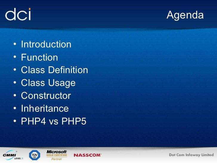 Agenda <ul><li>Introduction </li></ul><ul><li>Function </li></ul><ul><li>Class Definition </li></ul><ul><li>Class Usage </...