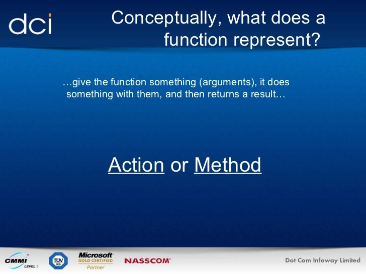 Conceptually, what does a function represent?  … give the function something (arguments), it does something with them, and...