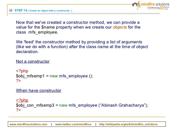 the new keyword and constructor in php