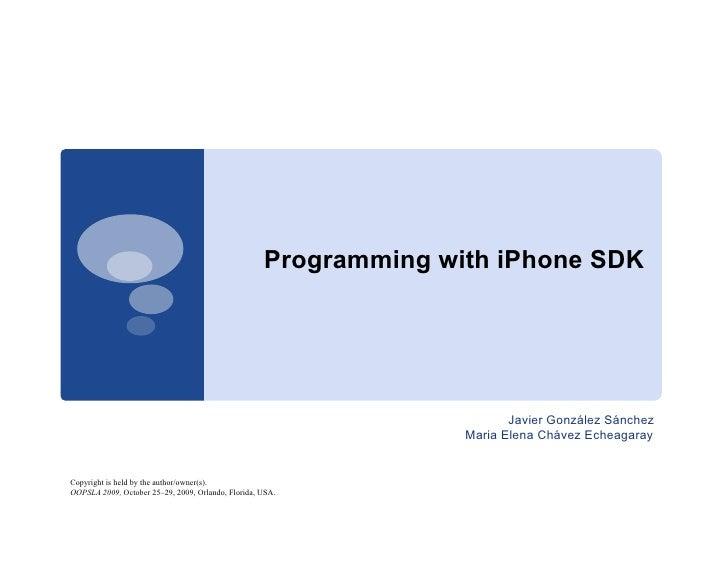 Programming with iPhone SDK                                                                              Javier González S...