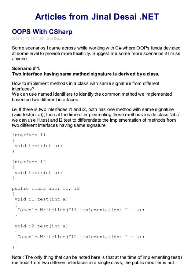 Articles from Jinal Desai .NETOOPS With CSharp2012-11-10 13:11:59 Jinal DesaiSome scenarios I came across while working wi...