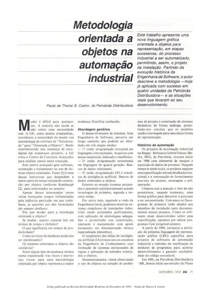 Artigo publicado na Revista Eletricidade Moderna em Dezembro de 1993 – Paulo de Tharso S. Castro