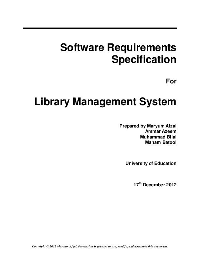 Online library mangement system for Srs software requirement specification template