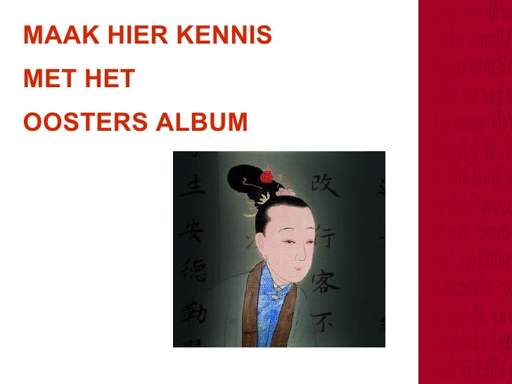 MAAK HIER KENNIS  MET HET  OOSTERS ALBUM