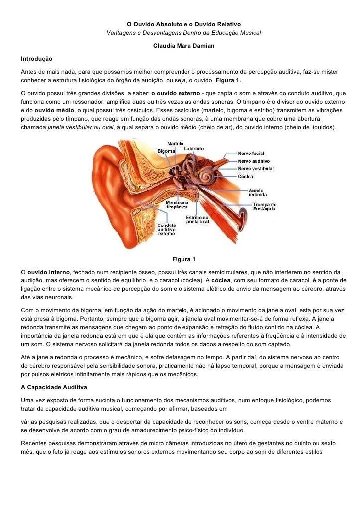 O Ouvido Absoluto e o Ouvido Relativo                                Vantagens e Desvantagens Dentro da Educação Musical  ...