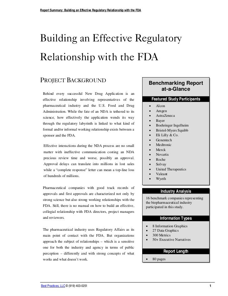 Report Summary: Building an Effective Regulatory Relationship with the FDABuilding an Effective RegulatoryRelationship wit...
