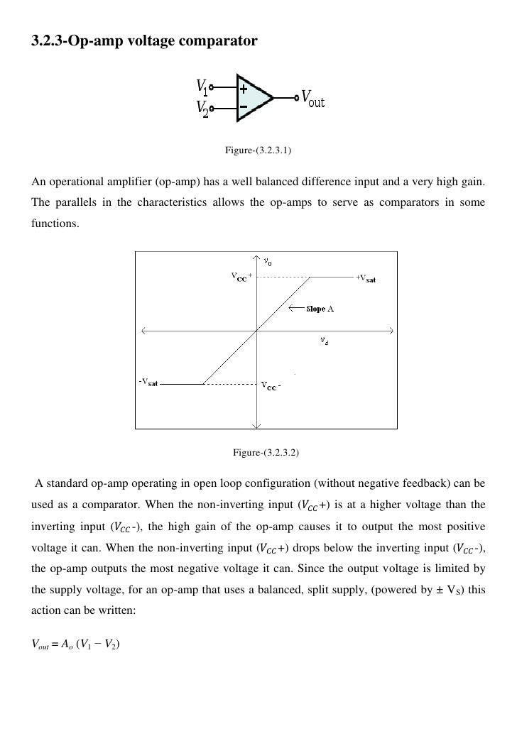 Op Amp As Comparator Circuit Op Amp Comparator Amp Voltage