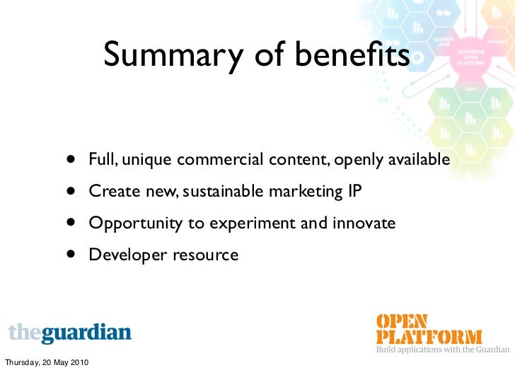 Summary of benefits                 •    Full, unique commercial content, openly available                •    Create new, ...