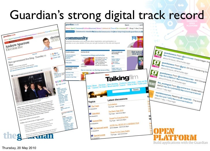 Guardian's strong digital track record     Thursday, 20 May 2010