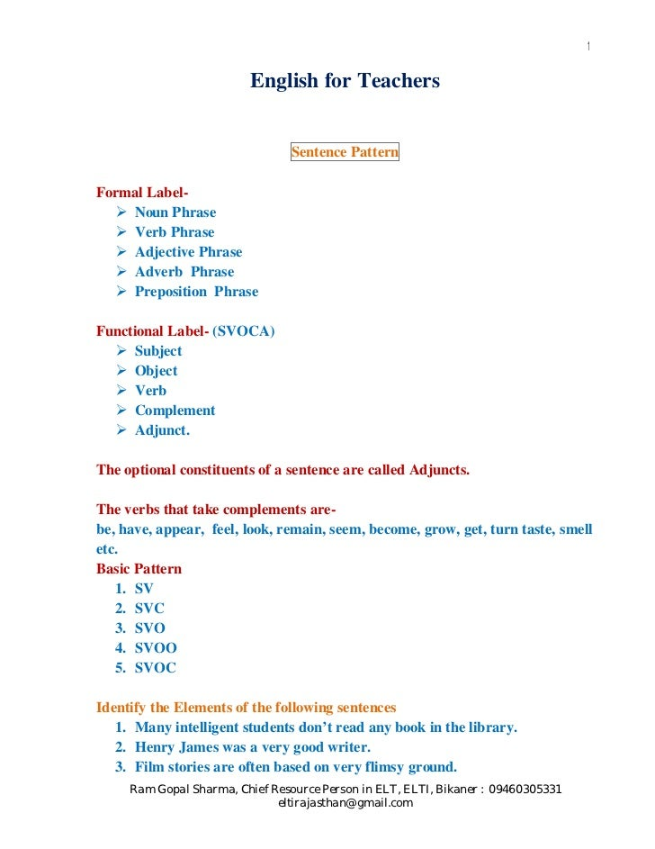 1                         English for Teachers                                 Sentence PatternFormal Label-    Noun Phras...