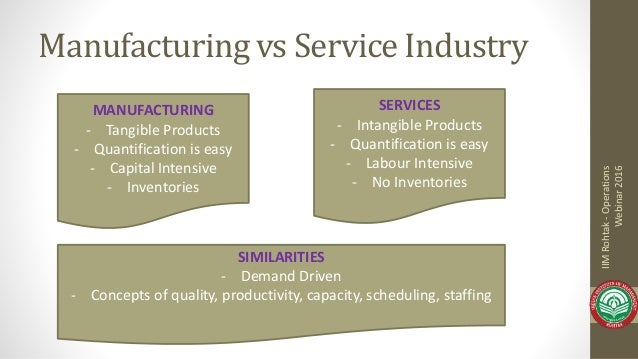service industry vs manufacturing industry in Classification and characteristics table 16 service industries and their 1950 employment employment industry (thousands) retail trade 8,544 government 6,503.