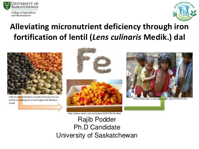 Rajib Podder Ph.D Candidate University of Saskatchewan Alleviating micronutrient deficiency through iron fortification of ...