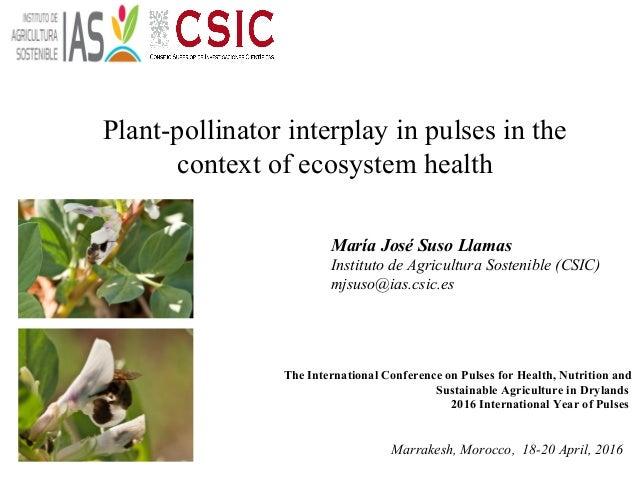 Plant-pollinator interplay in pulses in the context of ecosystem health María José Suso Llamas Instituto de Agricultura So...