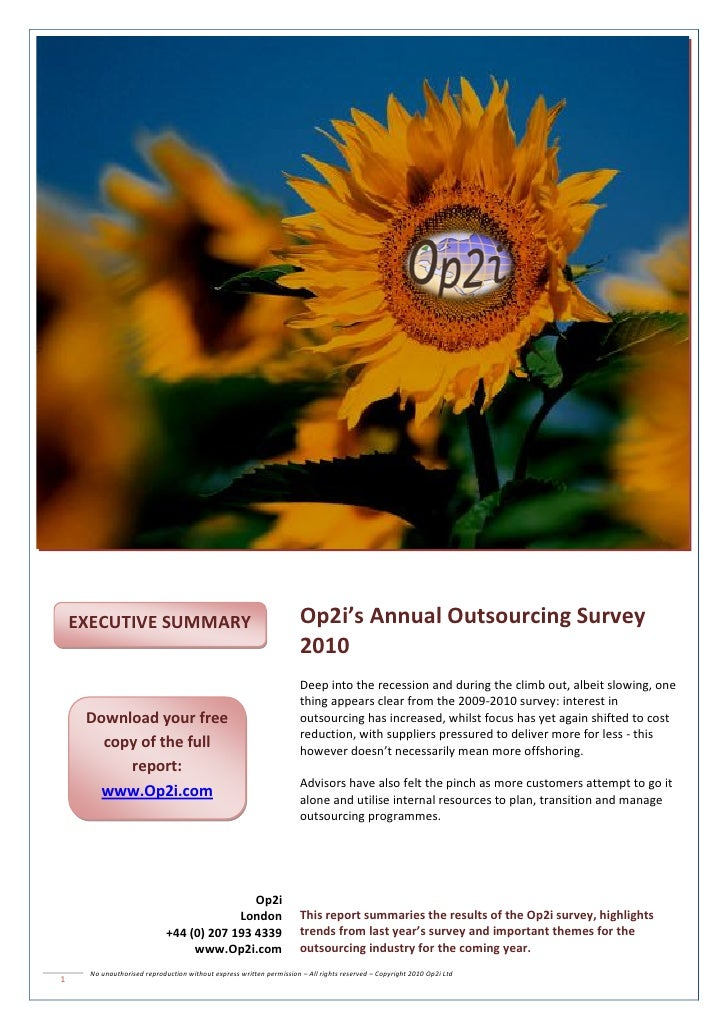 Op2i Outsourcing Survey 2010 – Best Practice Decision Framework         EXECUTIVE SUMMARY                                 ...