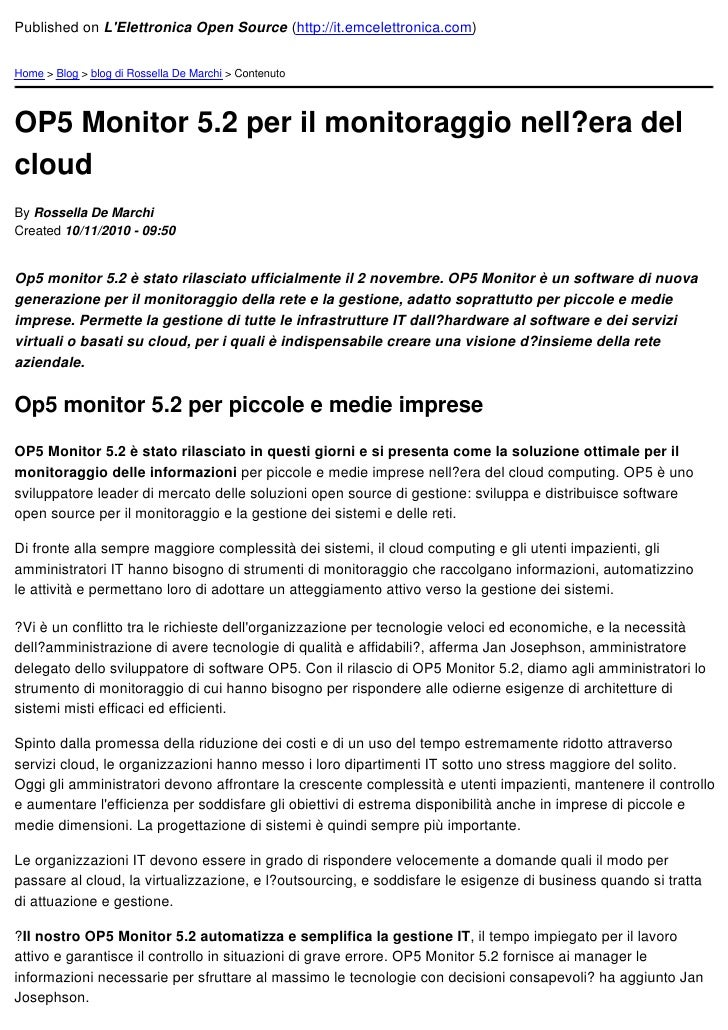 Published on LElettronica Open Source (http://it.emcelettronica.com)Home > Blog > blog di Rossella De Marchi > ContenutoOP...