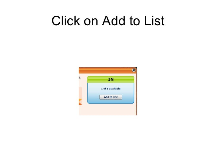 Click on Add to List