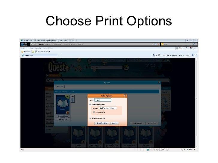 Choose Print Options