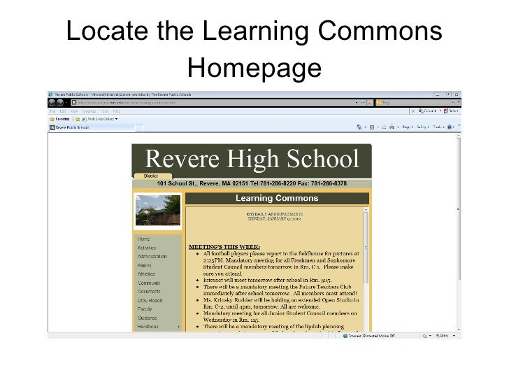 Locate the Learning Commons Homepage