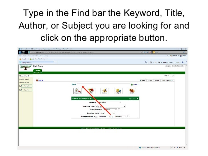 Type in the Find bar the Keyword, Title, Author, or Subject you are looking for and click on the appropriate button.