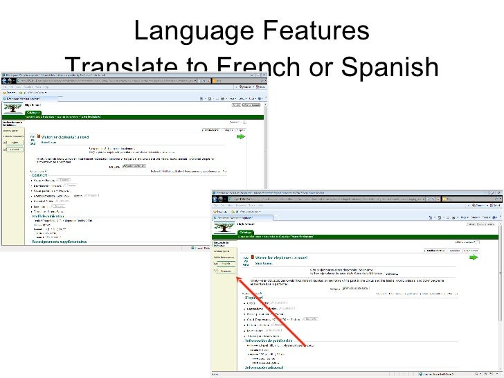 Language Features Translate to French or Spanish