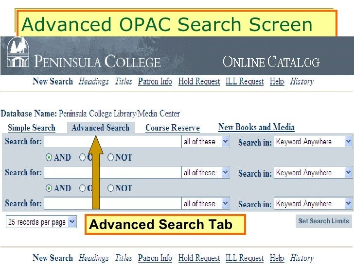Opac advanced search advanced opac search screen advanced search tab stopboris Choice Image