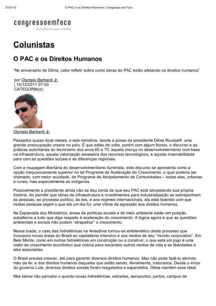 O PAC e os Direitos Humanos