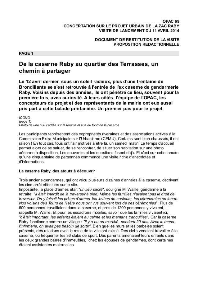 OPAC 69 CONCERTATION SUR LE PROJET URBAIN DE LA ZAC RABY VISITE DE LANCEMENT DU 11 AVRIL 2014 DOCUMENT DE RESTITUTION DE L...