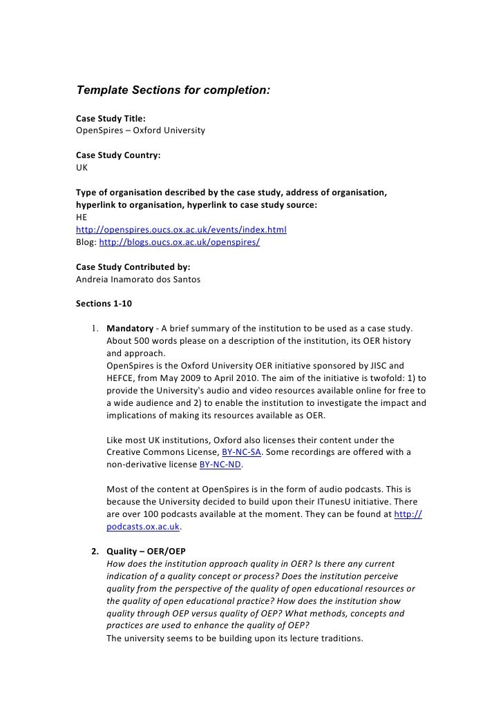 Template Sections for completion:  Case Study Title: OpenSpires – Oxford University  Case Study Country: UK  Type of organ...