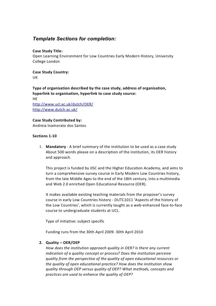Template Sections for completion:  Case Study Title: Open Learning Environment for Low Countries Early Modern History, Uni...