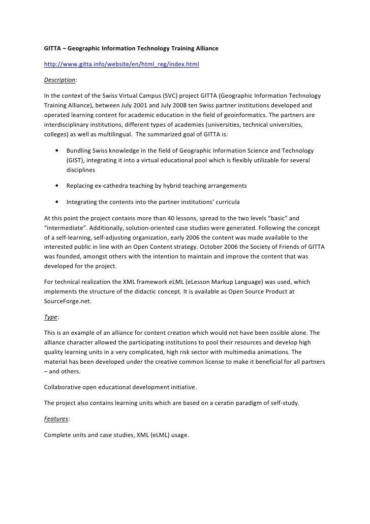 GITTA – Geographic Information Technology Training Alliance  http://www.gitta.info/website/en/html_reg/index.html  Descrip...
