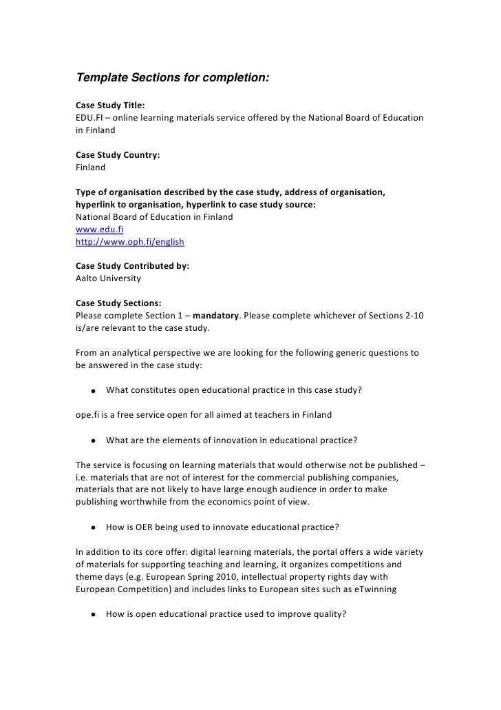 Template Sections for completion:<br />Case Study Title: <br />EDU.FI – online learning materials service offered by the N...