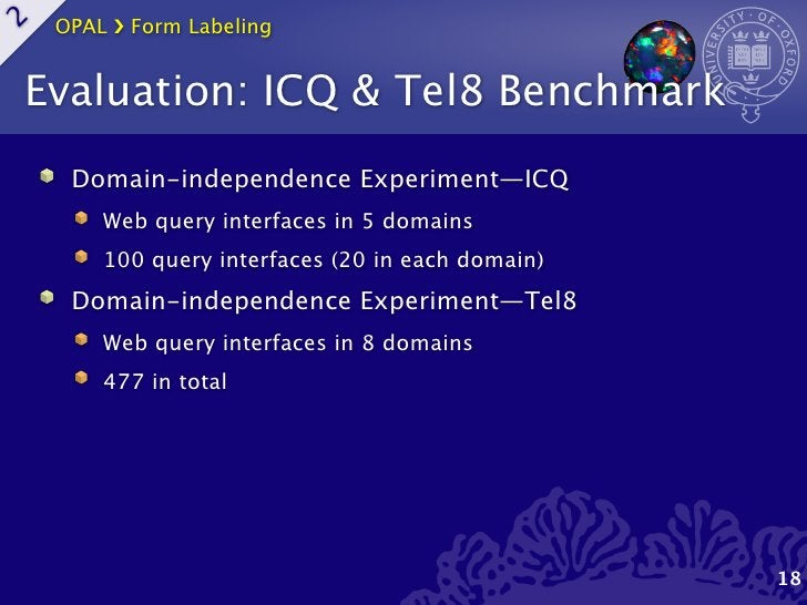 OPAL ›❯ Form Labeling2    Evaluation: ICQ & Tel8 Benchmark      Domain-independence Experiment—ICQ         Web query inter...
