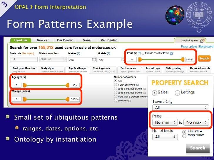 OPAL ›❯ Form Interpretation3    Form Patterns Example     Small set of ubiquitous patterns       ranges, dates, options, e...