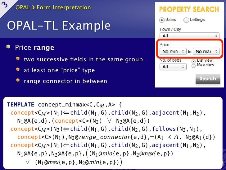 OPAL ›❯ Form Interpretation3     OPAL-TL Example       Price range          two successive fields in the same group        ...