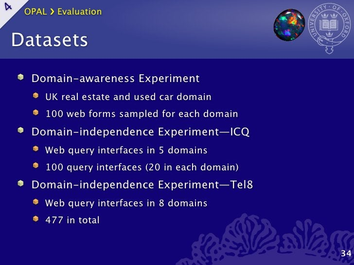 OPAL ›❯ Evaluation4    Datasets      Domain-awareness Experiment         UK real estate and used car domain         100 we...