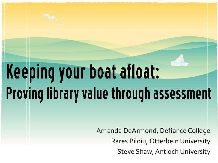 Amanda DeArmond, Defiance College   Rares Piloiu, Otterbein University     Steve Shaw, Antioch University